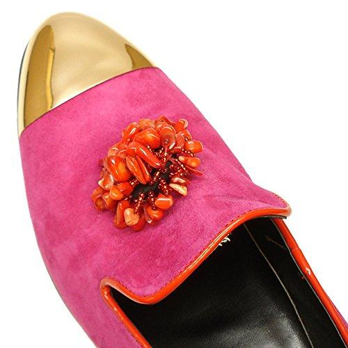 Slip-ons En Cuir Fiesso Pour Hommes-chaussures De Mode Pour Hommes Avec Cuir Véritable Et Pierre Fuchsia | Chaussures De Mode Fucsia