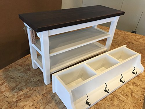 Hallway Mud Room Foyer Bench 32 Inch with Second Shoe Shelf and Matching Coat Rack Cubbie