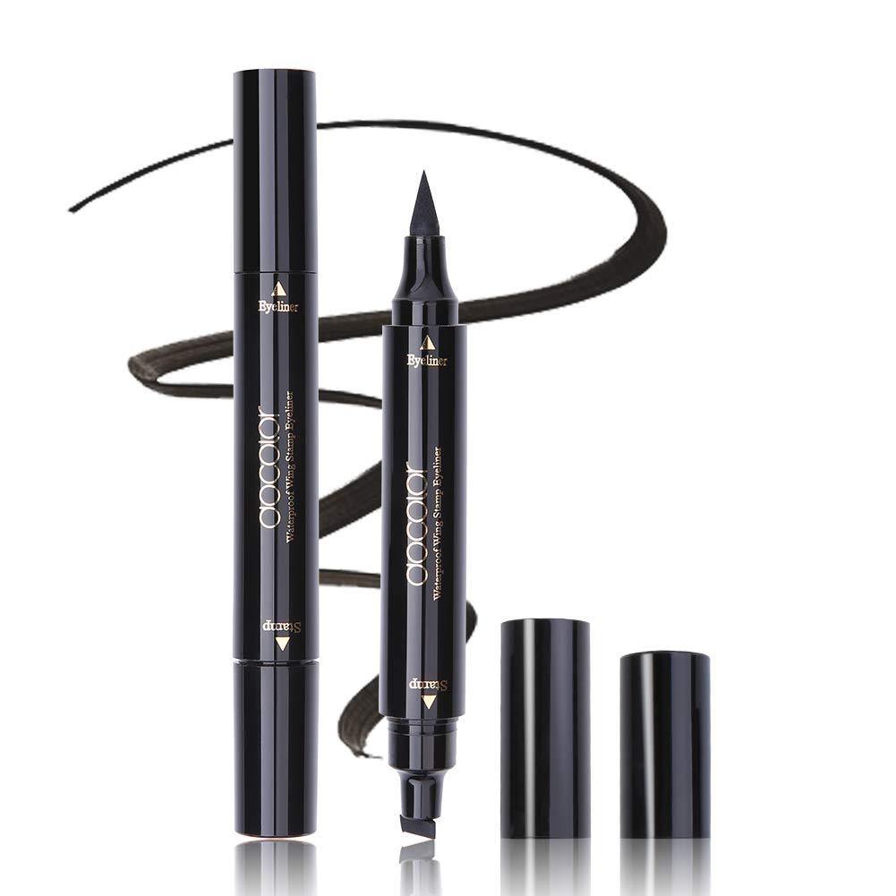 Waterproof Dual Ended Liquid Eye Liner Pen, Docolor Winged Eyeliner Stamp, Smudgeproof and Sweatproof, Long Lasting Eyeliner Pen Black