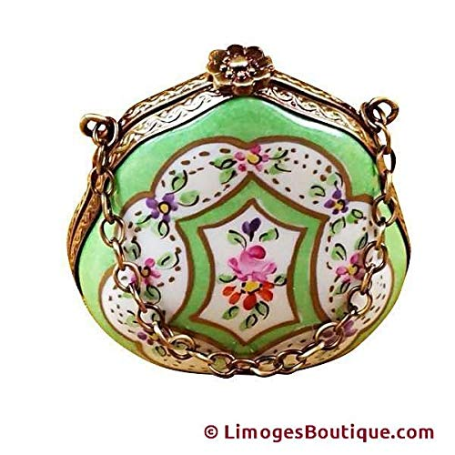 (Handbag Green Floral - French Limoges Boxes - Porcelain Figurines Collectible Gifts)