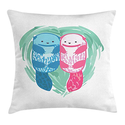 Queolszi Otter Throw Pillow Cushion Cover, Cute Water Mammal Watercolor Abstract Animal Pattern Aquatic Marine Life, Decorative Square Accent Pillow Case, 18 X 18 Inches, Mint Green Blue - Gingham Green Pink Toile