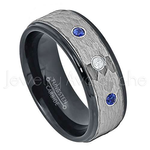 Mens Diamond & Sapphire Ring (0.21ctw Diamond & Blue Sapphire Tungsten 3-stone Ring - September Birthstone Ring - 8mm Hammered Finish Comfort Fit 2-toneTungsten Carbide Ring Tungsten Tungsten Wedding Band - s13)