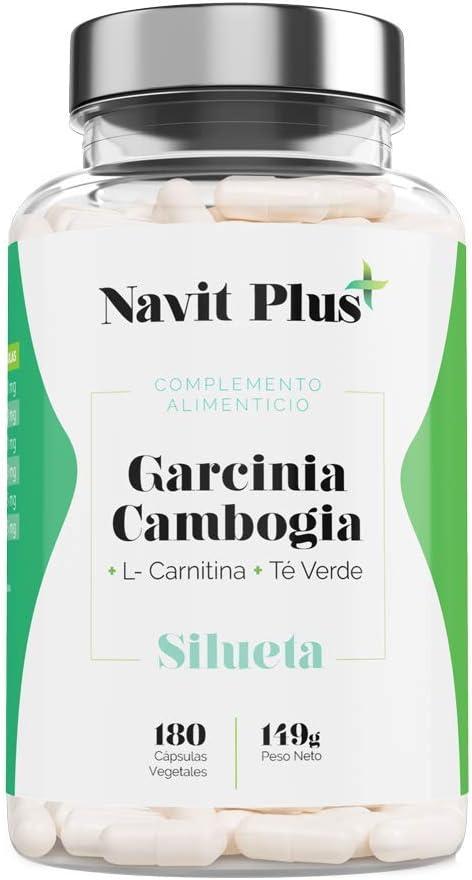 Garcinia Cambogia + L-Carnitina + Té Verde | Reductor del apetito | Código Nacional Farmacia 194557.0 | Quemagrasas 100% natural | Fabricado en España |180 cápsulas vegetales | Navit Plus.