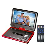 GJY 9.8'' Portable DVD Players with 270° Swivel Screen Built-in Rechargeable Battery SD Card/USB/Game/MP3/MP4/MP5/DVD/CD/Player,Happy Travel dvd players(Red)