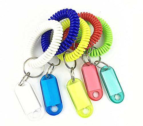 5 Sets Assorted Colors Spring Coil Wristand With ID Label Keyring By Alimitopia