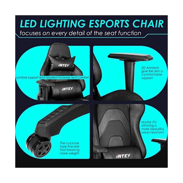 INTEY Chaise Gaming Éclairage LED, Chaise Bureau Ergonomique, Fauteuil Gamer Dossier Inclinable à 160°, avec RF…