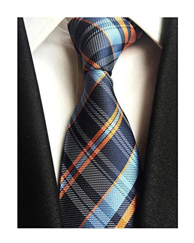 Men Navy Blue Orange Ties Maze Patterned Accessory Evening Dress Suit Necktie