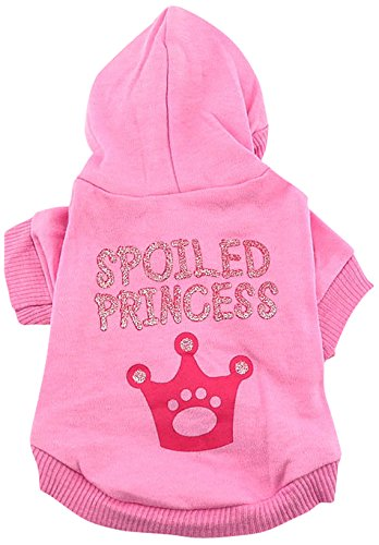 SMALLLEE_LUCKY_STORE Spoiled Princess Hooded Shirt for Small Dogs, Small For Sale