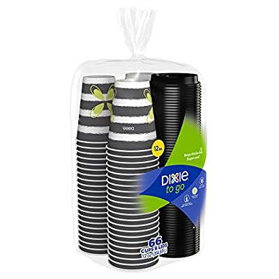 Dixie To Go Paper Cups & Lids, Disposable Insulated Cups and Lids (Designs May Vary), 66 Count
