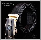 D&L Brown Men's Genuine Leather BMW Automatic Buckle Belt