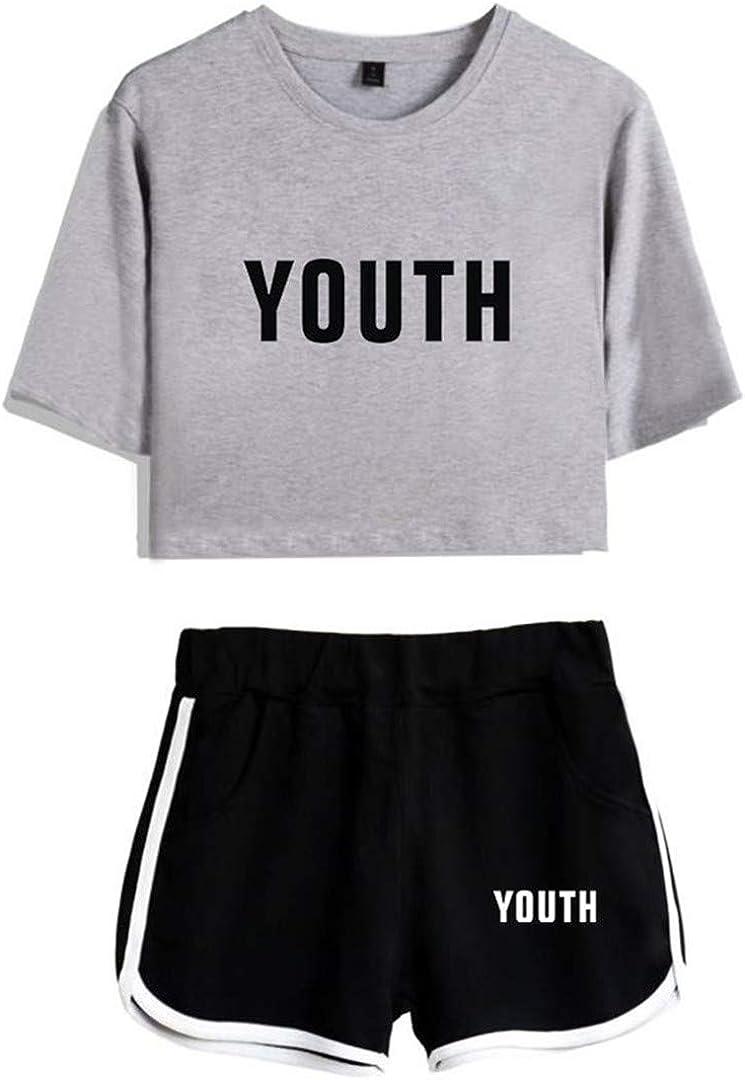 Silver Basic Mujer Shawn Mendes 98 Verano Fashion Camiseta y Shorts Set Sport Tops