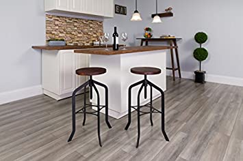 Flash Furniture 30 Barstool with Swivel Lift Wood Seat