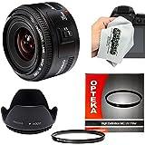 Yongnuo 35mm f/2 AF HD Standard Prime Lens with Hood, UV Filter and Microfiber Cleaning Cloth for Canon EOS 80D, 70D, 60D, 50D, 7D, 6D, 5D, T6i, T6s, T6, T5i, T5, T4i, T3i, T3, T2i Digital SLR Cameras