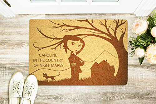 Caroline In The Country Of Nightmares 24x16 inch Doormat for Shoes Inside Outside Rubber Porch Mat Housewarming Birthday Holiday Congratulation Halloween Gift for Bride Niece Nephew -
