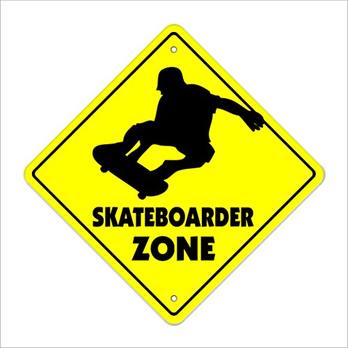 Skateboarder Crossing Sign Zone Xing | Indoor/Outdoor | 12