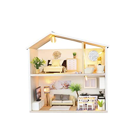 Doll Houses Diy Dollhouse Miniature Kids Room Kit With Light Comfortable Feel Toys & Hobbies