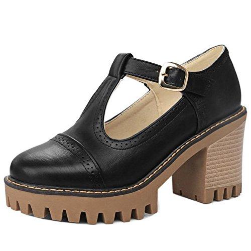 COOLCEPT Damen Mode-Event Chunky Heels T Strap Knochelriemchen Pumps Plateau Schwarz