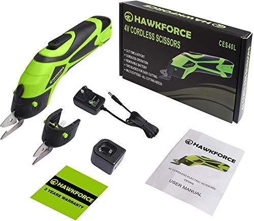 Forbice elettrica, Hawkforce 4V Batteria ricaricabile agli ioni di litio Forbici a batteria Cordless Power Forbici da taglio Cesoie da taglio con 2 lame da taglio per tagliare tessuti, pelle