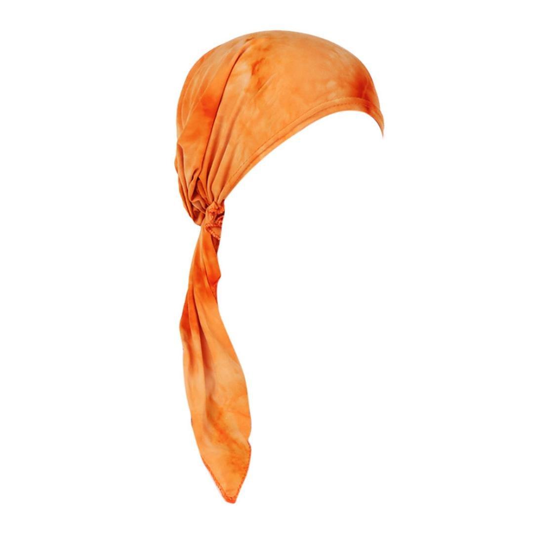 FreshZone Women India Stretch Turban Hat Tie-dye Cotton Hair Loss Head Scarf Wrap Multifunctional for Casual (Orange)