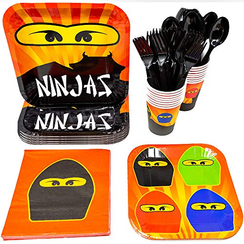 Discount Party Supplies Online (Blue Orchards Ninja Master Party Supplies Packs (113+ Pieces for 16 Guests!), Ninjago-Inspired Birthday Sets, Ninjago Tableware)