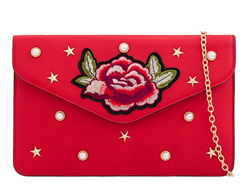 Bag Out Wedding Clutch Handbag Evening Night Party Red LeahWard Women's Prom 6gq16nC