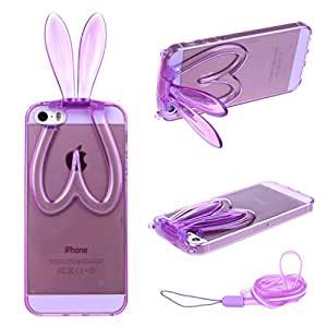 For iphone 5 5S , TUTUWEN Lovely Rabbit Ears Foldable Style [Soft Clear TPU] Flexible Rear Case Cover for Apple iphone 5 5S [Purple]
