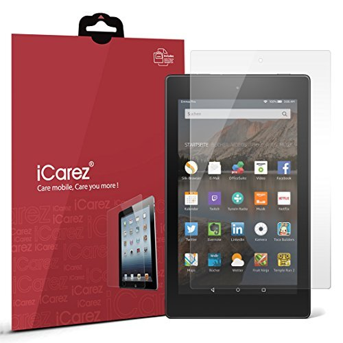iCarez [HD Clear Screen Protector for Amazon Fire HD 8 (5th Generation 2015) [Unique Hinge Install Method with Kits] Easy Install with Lifetime Replacement Warranty [2-Pack]