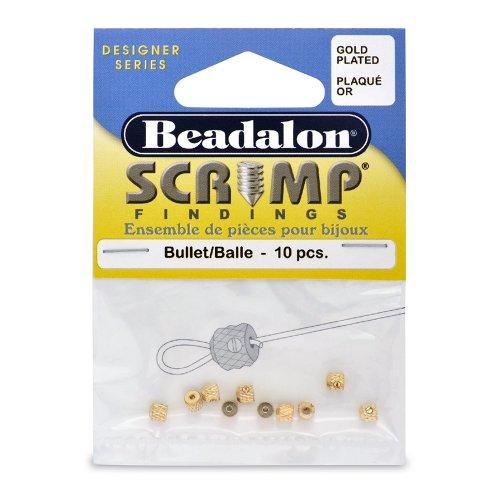 Beadalon Scrimp Finding Bullet Gold Plated, 10-Piece
