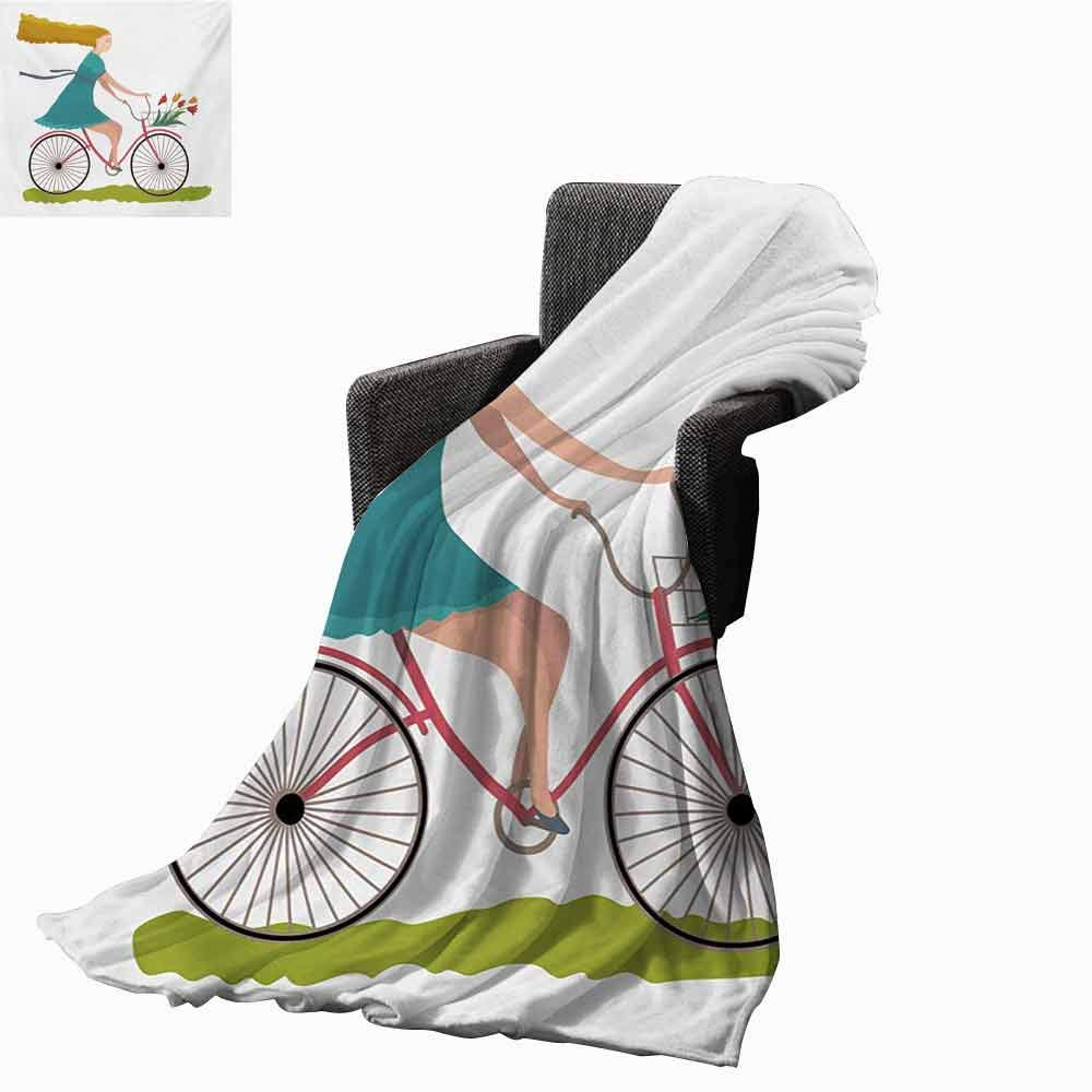 vanfan-home Bicycle Swaddle Blanket,Young Woman on Bike with Basket of Tulip Flowers Riding in The Spring Countryside Lightweight Extra Soft Skin Fabric Not Allergic (60''x35'')-Multicolor