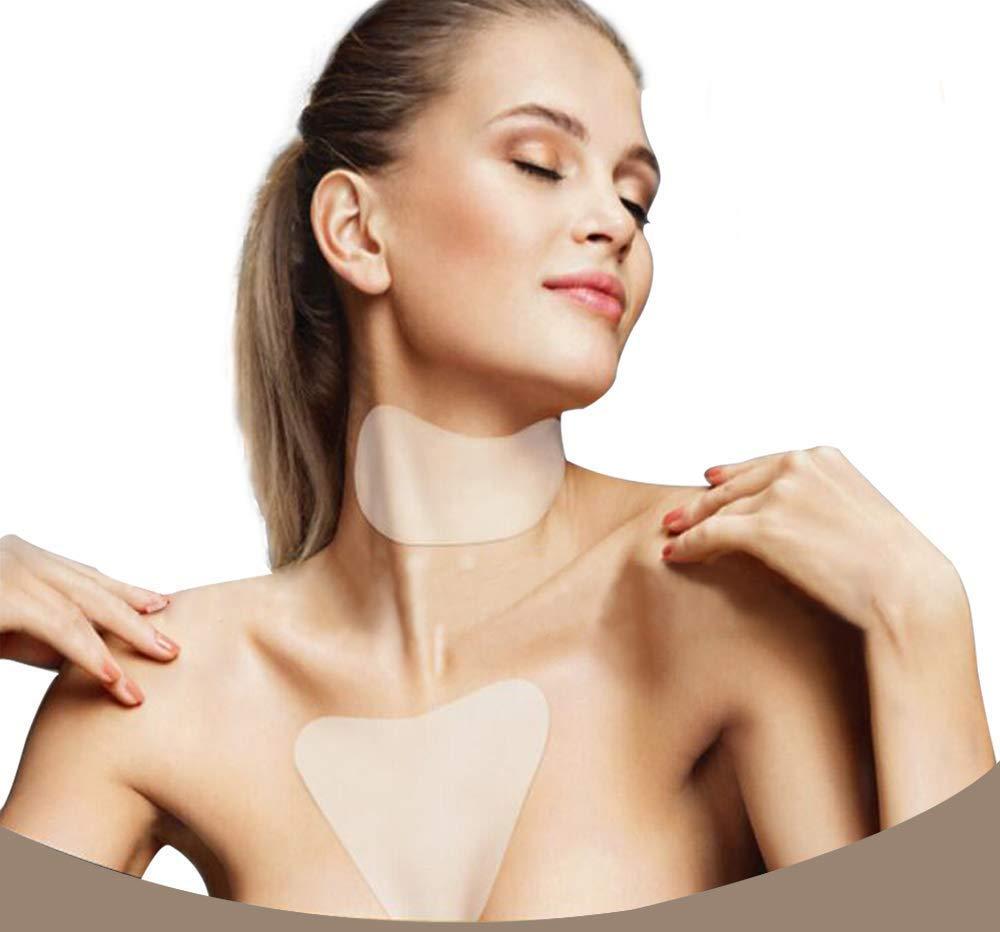 Silicone anti rughe Pad, silicone cura collo Pad con rughe petto Pad per prevenire e ridurre wrinkles- riutilizzabile durante la notte anti rughe Remover (2pezzi) Ethradia
