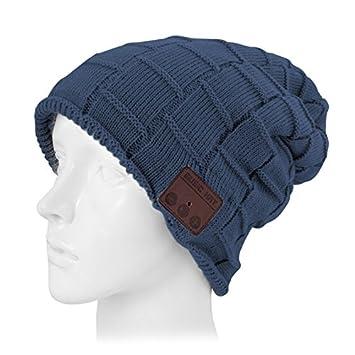 Wewoo Bonnet Connecté Bleu foncé pour garçon et Fille Adultes Casque  tricoté texturé Bluetooth Chaud d 2df4134584f