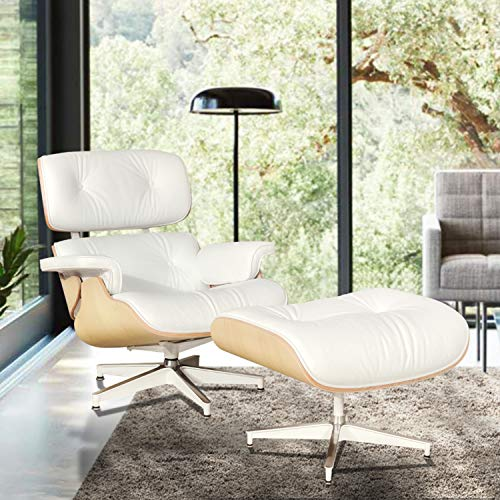 eChamp Recliner Lounge Chair with Ottoman, Mid Century Eames Style Leather Lounge Chair with Heavy Duty Base Support (White ()