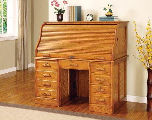 Oak Finish - Roll Top Desk by Coaster -