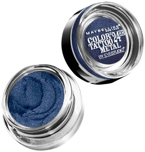 (Maybelline New York Eye Studio Color Tattoo Metal 24 Hour Cream Gel Eyeshadow, Electric Blue, 0.14 Ounce (Pack of 2))
