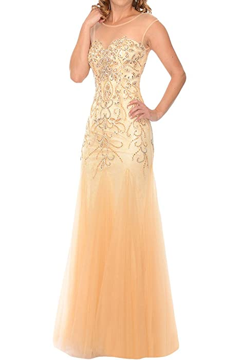 Amazon.com: La Mariee Alluring Sheath Tulle Sequins Evening Prom Dresses For Women Plus Size-2-Champagne: Clothing