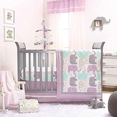Little Peanut Lilac Purple and Gold Elephants 4 Piece Baby Crib Bedding Set