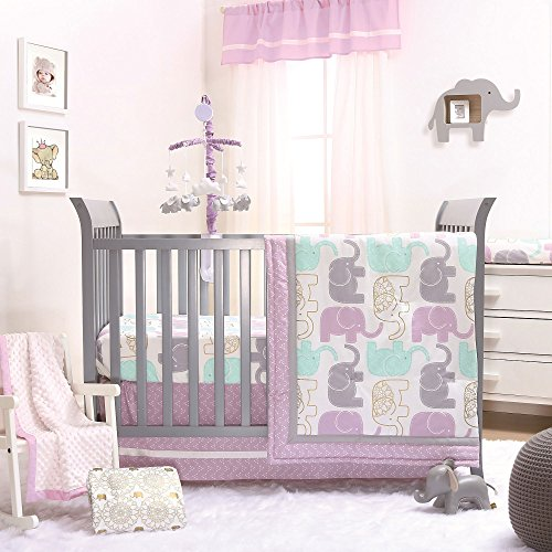 Baby Nursery Girl - Little Peanut Lilac Purple and Gold Elephants 4 Piece Baby Crib Bedding Set