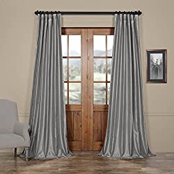 Half Price Drapes PDCH-KBS9-96 Vintage Textured Faux Dupioni Silk Curtain, 50 x 96, Silver
