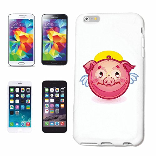 "cas de téléphone iPhone 7S ""Glücksschwein AS ANGEL AVEC HALO SMILEY ""SMILEYS SMILIES ANDROID IPHONE EMOTICONS IOS grin VISAGE EMOTICON APP"" Hard Case Cover Téléphone Covers Smart Cover pour Apple iPho"