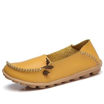 Mujer Zapatos Planos Cuero Soft Único Ligero Deslizamiento En Con Puntilla Mocasines Talón Bajo Amarilla Ronda Toe Vintage Retro Diseño Original Señoras ...