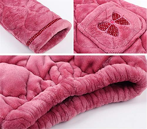 Señoras Gran A Pijamas Traje Invierno De Leeqn Domicilio Bedgown Informal Red Franela Servicio Grueso Caliente Tamaño 85xnU1