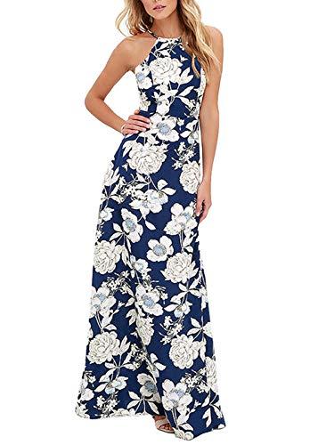 Romacci Women's Sleeveless Halter Neck Maxi Dress Vintage Floral Print Backless Beach Long Dresses S-5XL Blue