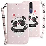 WIWJ Compatible with Nokia 3.1 Plus Case,3D Embossed Lanyard Flip PU Leather Case with Card Holder for Girls Kickstand Ultra Slim Fit Protective Shockproof Case Cover for Nokia 3.1 Plus-Love Bear