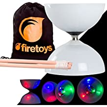 LED Big Top Light Up Bearing Diabolos Set, Hardwood Diablo Sticks, Diabolo string & Firetoys Bag!