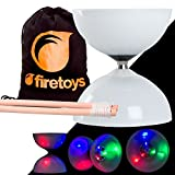 Juggle Dream LED Big Top Light Up Bearing Diabolos Set, Hardwood Diablo Sticks, Diabolo string & Firetoys Bag!