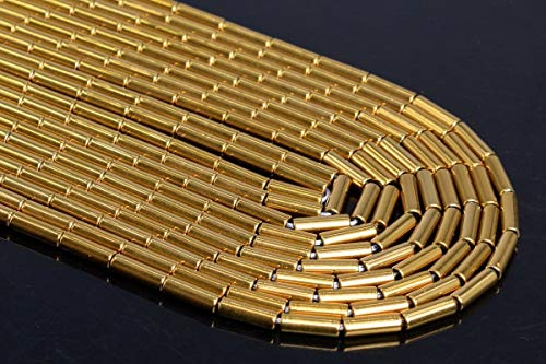 - Jewelry Making Supplies 9x3MM Gold Hematite Round Tube Grade AAA Natural Gemstone Loose Beads 15.5
