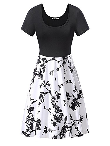 HuHot Women's Vintage Scoop Neck Long Sleeve A-line Cocktail Party Midi Dress (X-Large, HS17003-1)