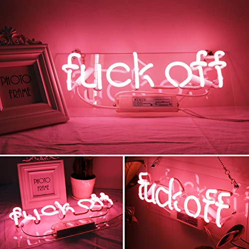 Neon Signs, Neon Light Sign Led Neon Lamp, Wall Sign Art Decorative Signs Lights, Neon Words for Home Bedroom Room Decor Bar Beer Office for Party Holiday Wedding Decoration Sign (Pink - Fuck Off)