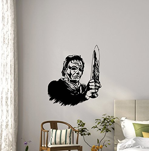 Michael Myers Halloween Wall Decal Movie Maniac Horror Poster Halloween Artwork Vinyl Sticker Nursery Wall Art Teen Kids Room Wall Decor Removable Waterproof Mural 161b