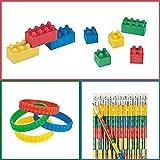 36 pc Color Brick Party Favors - Pencils, Erasers and Bracelets Lot